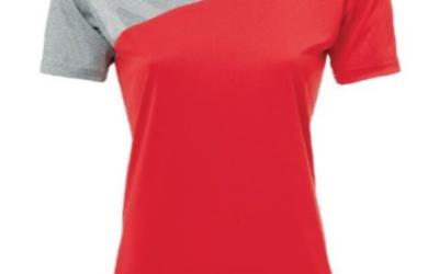 T-shirt Polyester gris et rouge femme